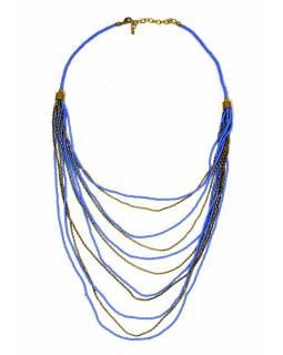 Náhrdelník, 11-řadý, modré a zlaté korálky, zapínání