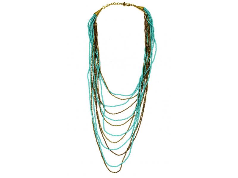 Náhrdelník, 11-řadý, tyrkysové a zlaté korálky, zapínání