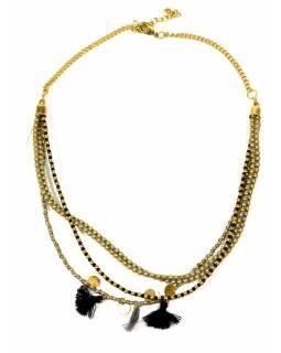 Náhrdelník, 3-řadý, černé, šedivé a zlaté korálky, zapínání