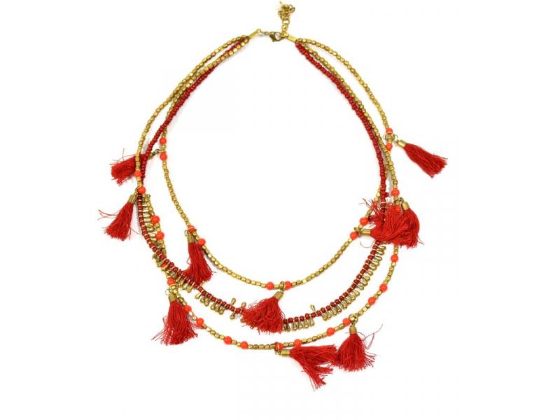 Náhrdelník, 3-řadý, červené a zlaté korálky, střapce, zapínání