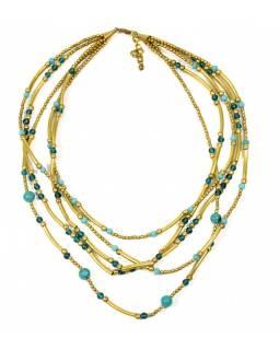 Náhrdelník, 5-řadý, tyrkysové a zlaté korálky, zapínání