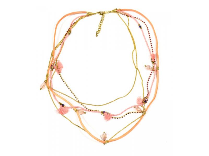 Náhrdelník, 5-řadý, meruňkové korálky, zlaté řetízky a střapce, zapínání