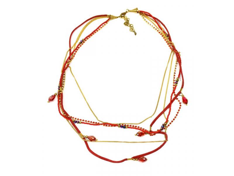 Náhrdelník, 5-řadý, červené korálky, zlaté řetízky a střapce, zapínání