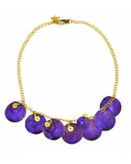 Náhrdelník s fialovými kolečky a zlatými spirálkami, zlatý kov