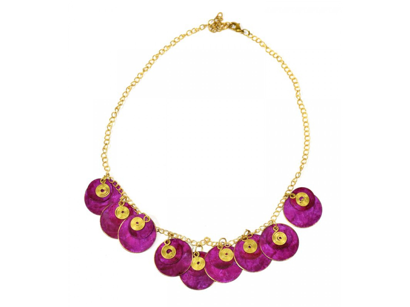 Náhrdelník s růžovými kolečky a zlatými spirálkami, zlatý kov
