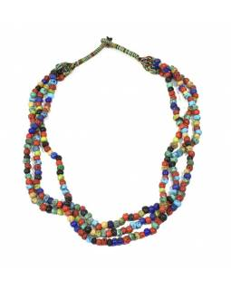 Masivní dlouhý náhrdelník, 3-řadý, barevné korále, zapínání