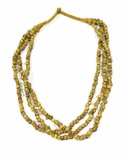 Masivní dlouhý náhrdelník, 3-řadý, béžové korále, zapínání