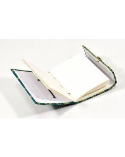 Notes v brokátové vazbě, ruční papír, 12x16cm