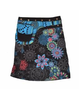 Polodouhá černo-modrá sukně zapínaná na patentky, kapsa, small flower print