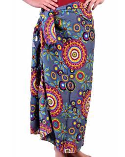 Šedivý sárong s motivem barevných mandal, velký šátek s třásněmi, 109x157cm
