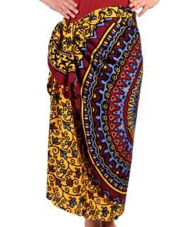 Vínový sárong s motivem mandaly, vínovo-žluto-modrý šátek s třásněmi, 109x157cm