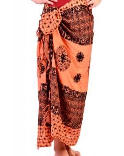 Meruňkový sárong s drobným černým potiskem, šátek s třásněmi, 109x157