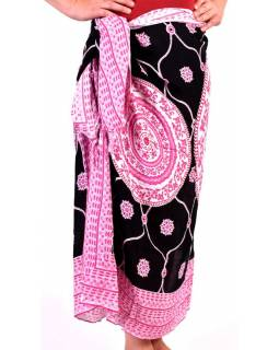 Růžový sárong s potiskem mandal, růžovo-černý šátek s třásněmi, 109x157