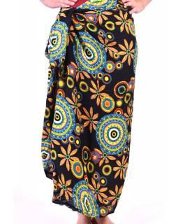 Černý sárong s motivem barevných mandal, velký šátek s třásněmi, 109x157cm