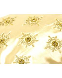 Povlak na polštář, krémový, zrcátka, zlatá výšivka, 40x40cm