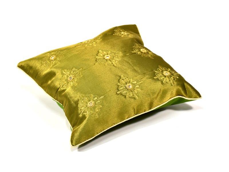 Povlak na polštář, zelený, zrcátka, zlatá výšivka, 40x40cm