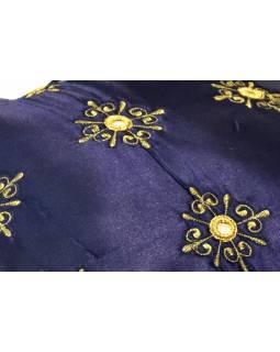 Povlak na polštář, tmavě modrý, zrcátka, zlatá výšivka, 40x40cm