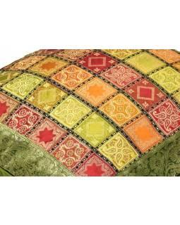 Povlak na polštář, zelený s square designem, zlatá výšivka, 40x40cm
