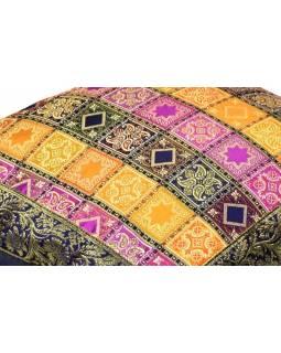Barevný saténový povlak na polštář s výšivkou, zip, 40x40cm