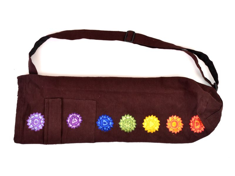 Originální obal na yoga podložku, hnědý, výšivka, popruh, kapsa, cca 18x70cm