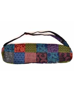 Originální obal na yoga podložku, patchwork, popruh, kapsa, cca 18x70cm