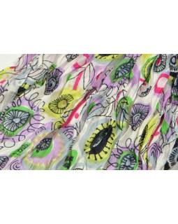 Multibarevný šátek, mačkaná úprava, květinový potisk, 55x170cm