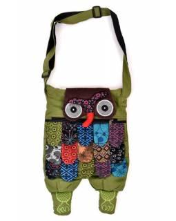 """Patchworkový bavlněný batoh """"sova"""" zelený, se zipem, 45x30 cm"""