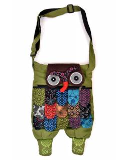 """Patchworková bavlněná taška přes rameno """"sova"""" zelená, se zipem, 45x30 cm"""