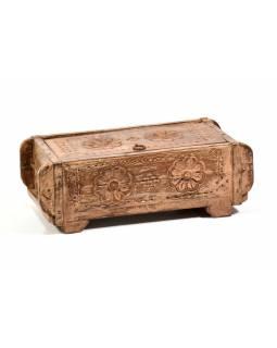 Antik dřevěná truhlička, ruční řezby, mango, 32x15x10cm
