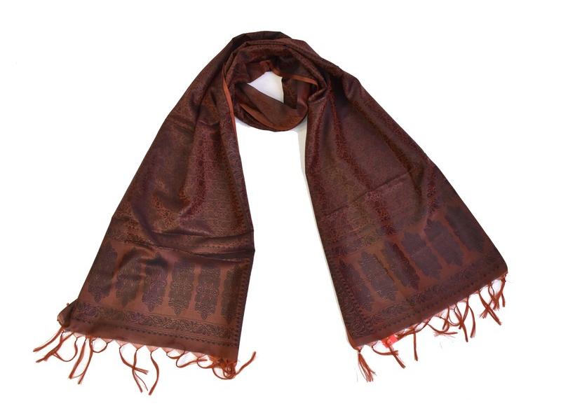 Šátek, brokát - viskóza, hnědý, paisley design, 50x175cm