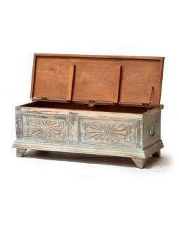 Dřevěná truhla z mangového dřeva, zelená patina, 110x45x42cm