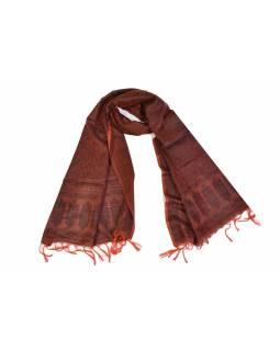 Šátek, brokát - viskóza, cihlový, paisley design, 50x175cm