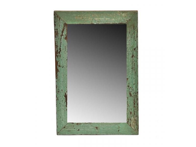 Zrcadlo v rámu, starý teak, antik patina, 20x31x1,5cm