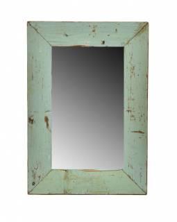 Zrcadlo v rámu, starý teak, antik patina, 25x36x1,5cm