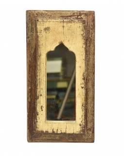 Zrcadlo v rámu, starý teak, antik patina, 19x37x2cm