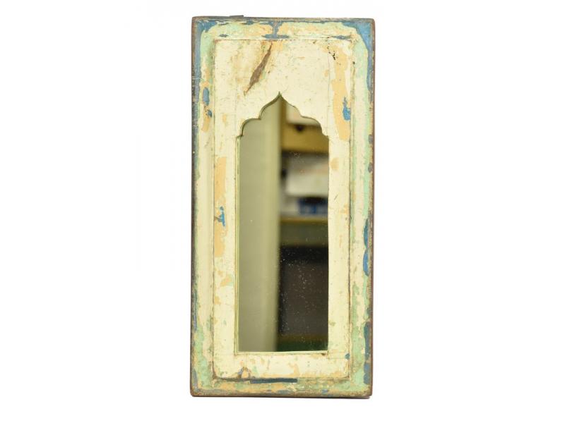 Zrcadlo v rámu, starý teak, antik patina, 18x38x2cm