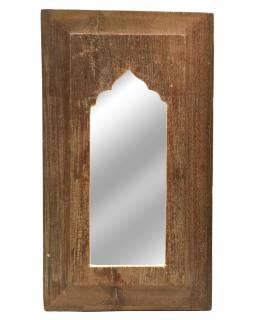 Zrcadlo v rámu, starý teak, antik patina, 22x37x2cm