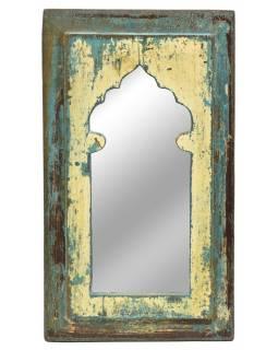 Zrcadlo v rámu, starý teak, antik patina, 22x38x2cm