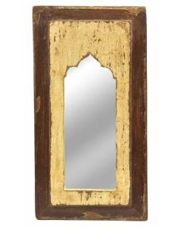 Zrcadlo v rámu, starý teak, antik patina, 20x36x2cm