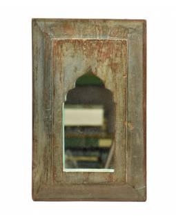 Zrcadlo v rámu, starý teak, antik patina, 23x37x2cm