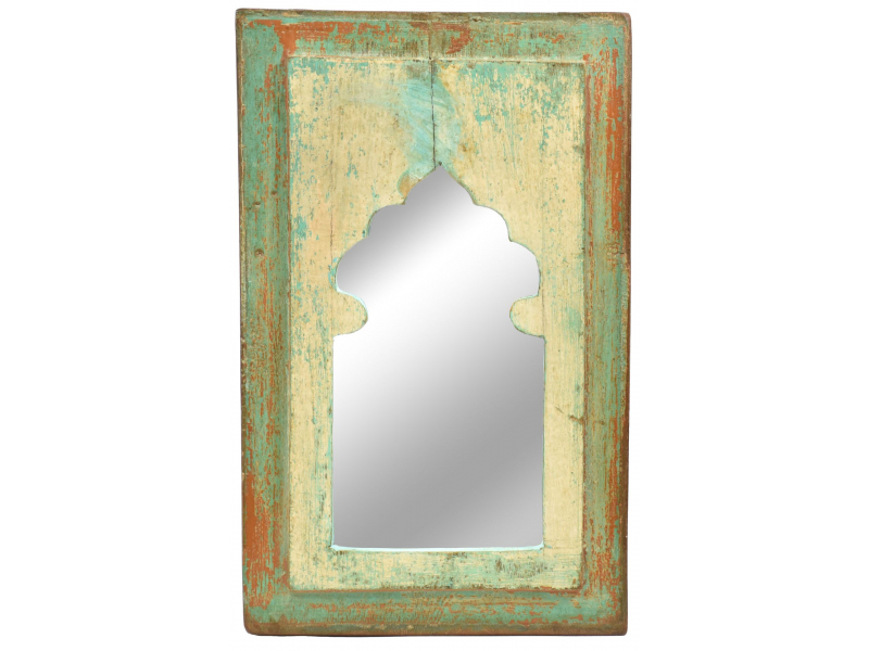 Zrcadlo v rámu, starý teak, antik patina, 23x36x2cm
