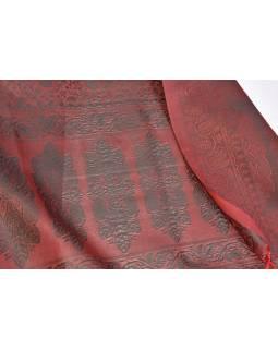 Šátek, brokát - viskóza, červeno zelený, paisley design, 50x175cm