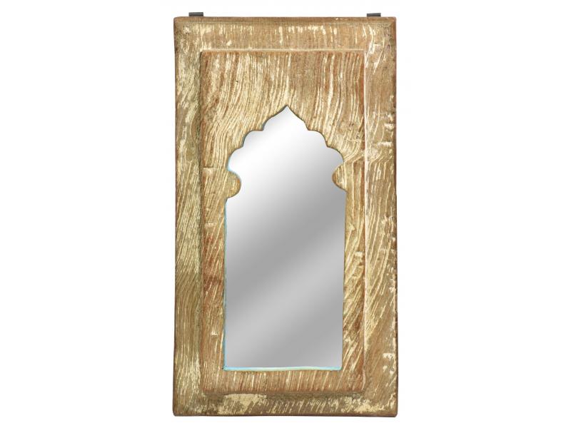 Zrcadlo v rámu, starý teak, antik patina, 21x39x2cm