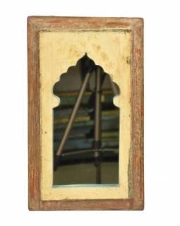 Zrcadlo v rámu, starý teak, antik patina, 25x42x2cm