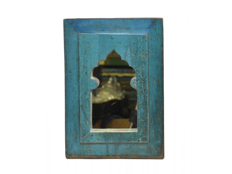 Zrcadlo v rámu, starý teak, antik patina, 25x36x3cm