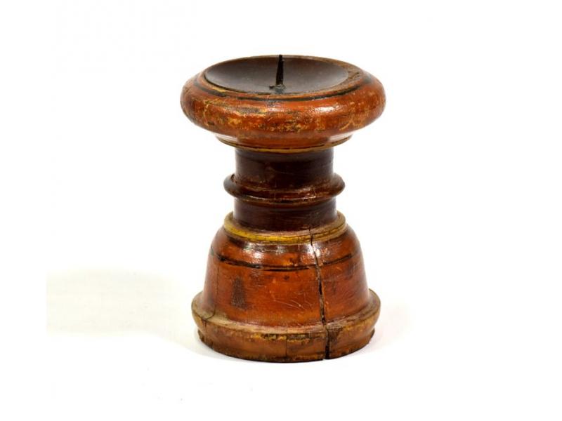 Svícen ze starého teakového dřeva, 10x10x14cm