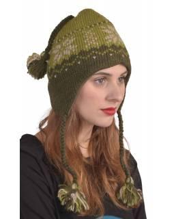 Čepice, uši, vlna, vzor vločka, podšívka, zelená