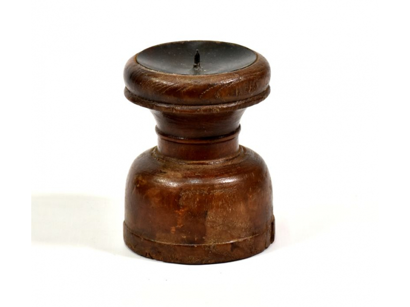 Svícen ze starého teakového dřeva, 9x9x12cm