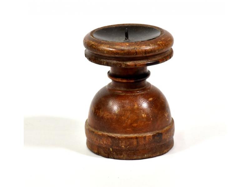 Svícen ze starého teakového dřeva, 10x10x13cm
