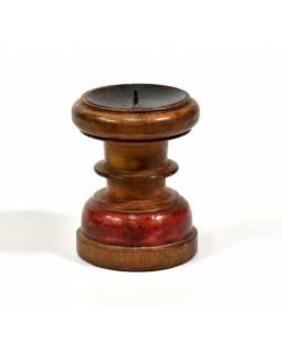 Svícen ze starého teakového dřeva, 9x9x13cm